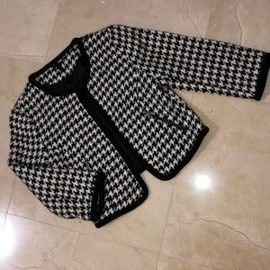 H&M DIVIDED 3/4 Sleeve Houndstooth Crop Jacket
